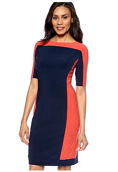 Evan-Picone Dress Colorblock Sheath Dress