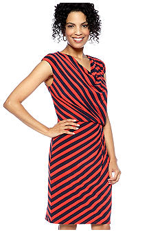 Evan-Picone Dress Striped Blouson Dress