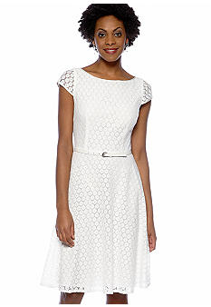 Evan-Picone Dress Cap-Sleeved Crochet Belted Dress