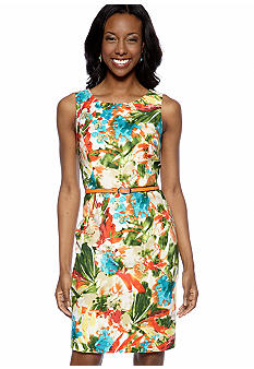 Evan Picone Sleeveless Printed Belted Sheath Dress
