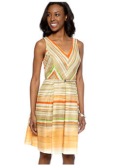 Evan-Picone Dress Sleeveless Stripe Belted Dress
