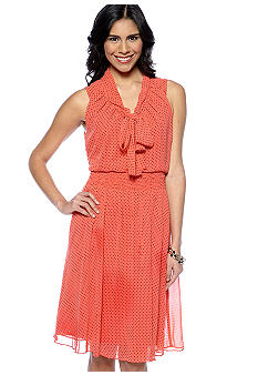 Evan-Picone Dress Sleeveless Tie Neck Dress
