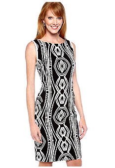 Evan-Picone Dress Sleeveless Printed Sheath Dress