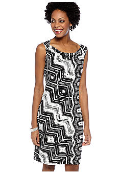 Evan-Picone Dress Sleeveless Printed Cowl Neck Sheath Dress