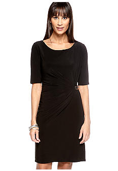 Evan-Picone Dress Three-Quarter Sleeved Matte Jersey Dress