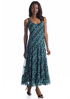 Evan-Picone Dress Sleeveless Printed Maxi Dress