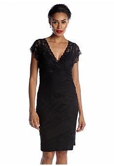 Marina Cap-Sleeved Lace and Mesh Dress