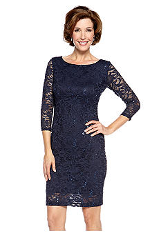 Marina Three-Quarter Sleeved Sheath Dress with Sequin