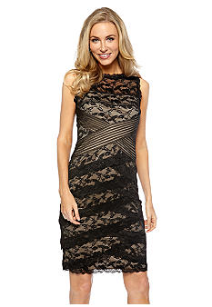 Marina Sleeveless Stretch Lace and Mesh Tank Dress