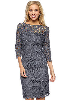 Marina Three-Quarter Sleeved Pretzel Lace Dress