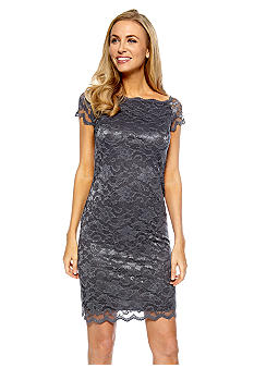 Marina Cap-sleeved Off shoulder Allover Lace Dress
