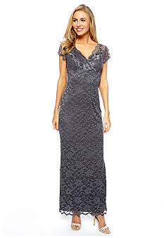 Marina Cap-Sleeved Allover Lace Dress