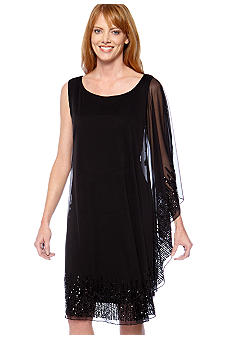 Onyx Sleeveless with One Bat Wing Sleeve Dress