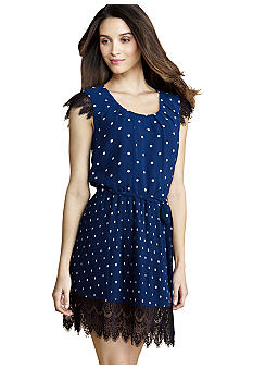 Donna Morgan Sleeveless Polka Dot Dress with Lace