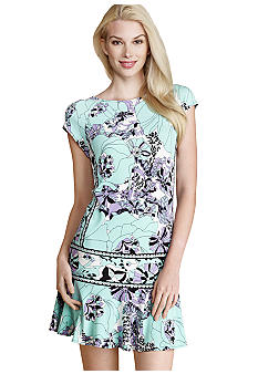 Donna Morgan Cap-Sleeved Drop-Waist Printed Dress