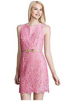 Donna Morgan Sleeveless Lace Overlay Sheath Dress