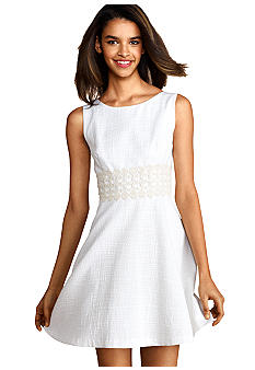 Donna Morgan Sleeveless Fit and Flare Dress with Crochet Trim