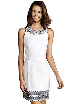 Donna Morgan Sleeveless Dress with Embroidery Trim