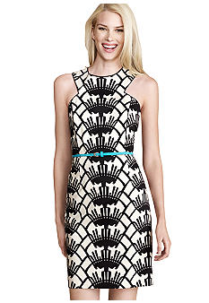 Donna Morgan Sleeveless Printed Belted Sheath Dress