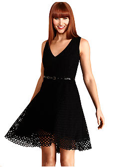 Donna Morgan Sleeveless Eyelet Belted Dress