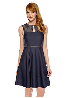 Donna Morgan Sleeveless Key Hole Chambray Dress