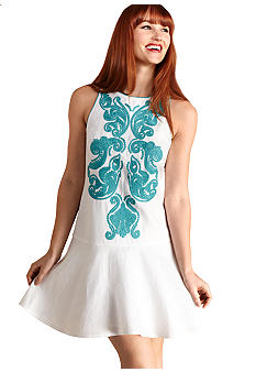 Donna Morgan Sleeveless Embroidered Front Drop-Waist Dress
