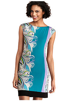Donna Morgan Cap-Sleeved Printed Sheath Dress