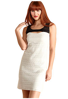 Donna Morgan Sleeveless Lace Colorblock Sheath Dress