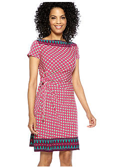 Donna Morgan Tile Printed Side Knot Dress