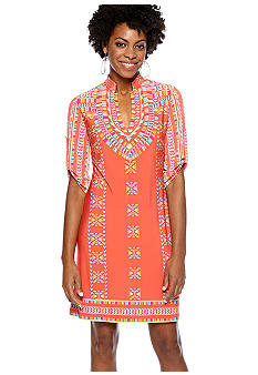 Donna Morgan Printed Split Neck Dress