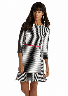 Donna Morgan Three-Quarter Sleeved Striped Belted Dress