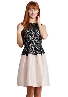 Donna Morgan Sleeveless Fit and Flare Illusion Dress