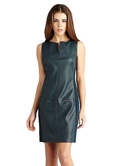 Donna Morgan Faux Leather Shift Dress
