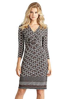 Donna Morgan Printed Knot Front Jersey Sheath Dress