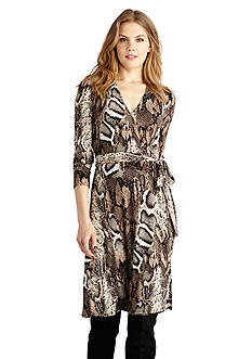 Donna Morgan Long Sleeve Faux Wrap Dress