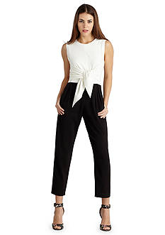 Donna Morgan Tie Front Color-block Jumpsuit