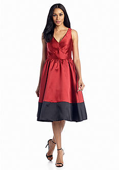 Donna Morgan Color-block Fit and Flare Dress
