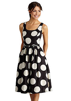Donna Morgan Polka Dot Fit and Flare Belted Dress