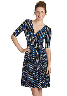 Donna Morgan Printed Faux Wrap Dress
