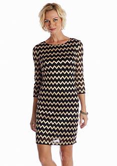 Ronni Nicole Three-Quarter Sleeve Lace Sheath Dress