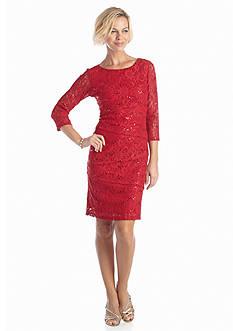 Ronni Nicole Three-Quarter Sleeve Allover Lace Tiered Sheath Dress