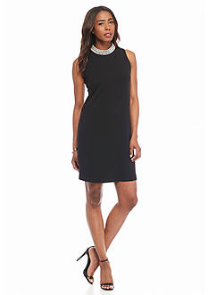Ronni Nicole Pearl Neck Trapeze Dress