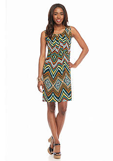 Ronni Nicole Printed Tuck Pleated Shift Dress