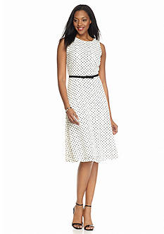Ronni Nicole Polka Dot Lace Belted Fit and Flare Dress