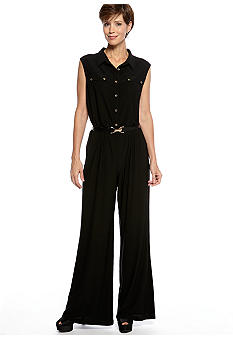 Ronni Nicole Sleeveless Button Front Jumpsuit