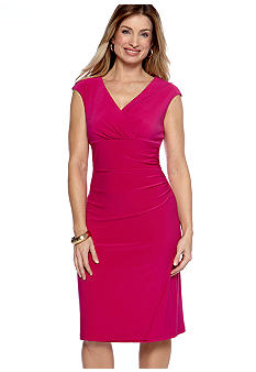 Ronni Nicole Cap Sleeved Faux Wrap Dress