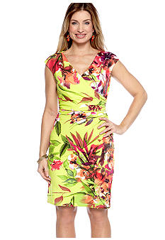 Ronni Nicole Cap Sleeved Floral Faux Wrap Dress