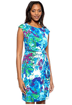 Ronni Nicole Cap-Sleeved Printed Sheath Dress