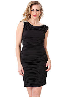 JS Boutique Sleeveless Cowl Neck Dress with Beaded Shoulders