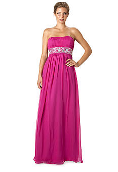 JS Boutique Strapless Empire Waist Gown